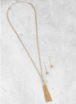Metallic Tassel Chain Necklace with Stick Earrings - 3123074171320