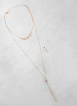 Rhinestone Stick Layered Necklace with Earrings - 3123074171335