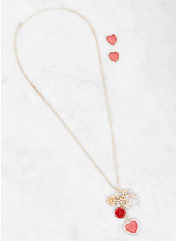 Charm Cluster Necklace and Stud Earrings - 3123074171391