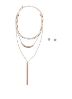 Rhinestone Layered Necklace with Earrings - 3123074172472