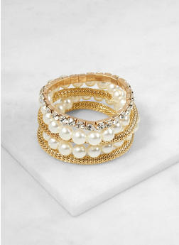 Set of 5 Faux Pearl and Rhinestone Stretch Bracelets - 3123074172734