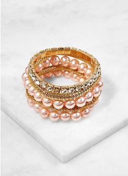 Set of 5 Faux Pearl and Rhinestone Stretch Bracelets - 3123074172734