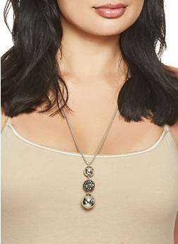 Long Rhinestone Necklace with Earrings Set - 3123074172736
