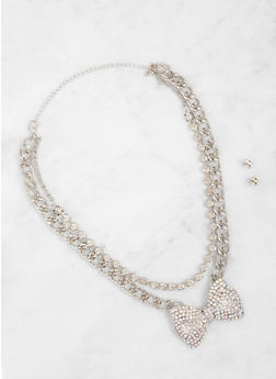 Layered Bow Charm Chain Necklace and Earrings Set - 3123074172738