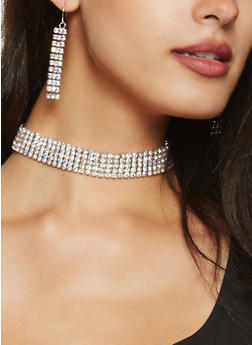 Rhinestone Choker with Earrings - 3123074172739