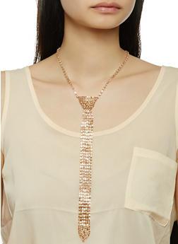 Rhinestone Tie Necklace - 3123074175110