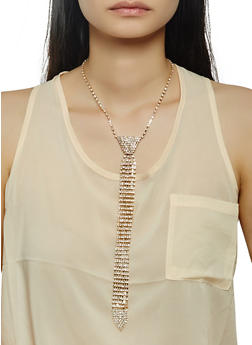 Rhinestone Tie Necklace - 3123074175110