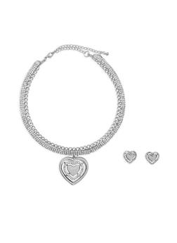 Rhinestone Heart Charm Collar Necklace with Stud Earrings - 3123074176170