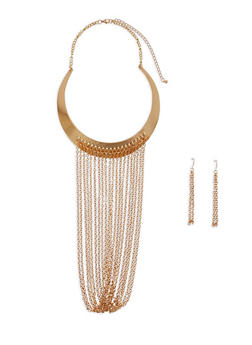 Chain Fringe Collar Necklace with Earrings - 3123074176493