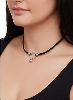 Choker and Charm Necklaces with Stud Earrings - 3123074372053