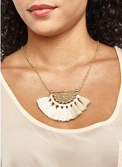Metallic Tassel Necklace - 3123074373560
