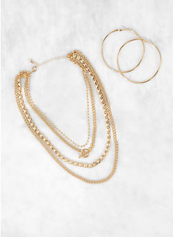 Metallic Chain Layered Necklace and Hoop Earrings - 3123074374014