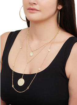 Layered Religious Charm Necklace and Hoop Earrings - 3123074374180