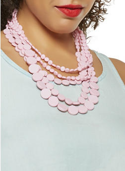 Multi Layer Beaded Necklace with Bracelets and Earrings - 3123074466801