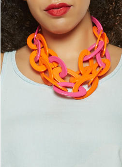Plastic Colored Chain Link Necklace and Earrings - 3123074466823