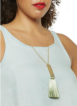 Metallic Tassel Necklace with Earrings Set - 3123074468278