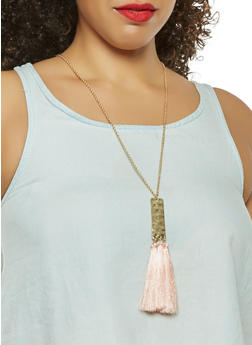 Metallic Tassel Necklace with Earrings Set - 3123074468278