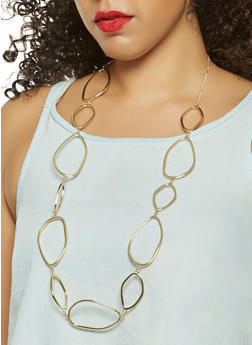 Metallic Oval Linked Necklace with Earrings - 3123074468585