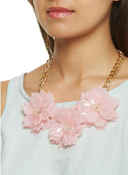 Flower Statement Necklace with Stud Earrings Set - 3123074468591