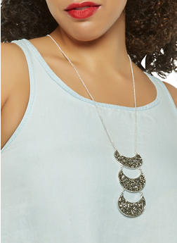 Jewel Encrusted Half Moon Earrings and Necklace - 3123074468648