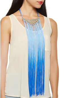 Beaded Ombre Fringe Necklace with Stud Earrings - 3123074468775