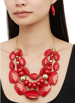 Layered 3 Row Beaded Necklace with Drop Earrings - 3123074756133