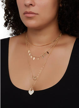 Heart Layered Flat Necklace and Hoop Earrings Set - 3123074974032