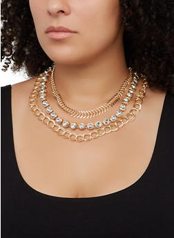 Tri Layered Necklace and Hoop Earrings Set - 3123074974034