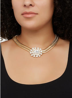 Mesh Chain Collar Necklace with Rhinestone Stud Earrings - 3123074974036