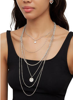 Love Charm Layered Necklace with Heart Earrings - 3123074974038