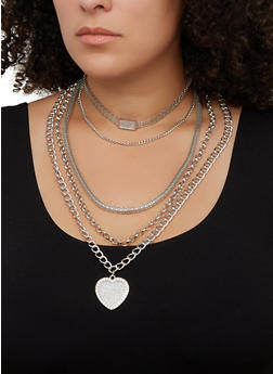 Heart Pendant Layered Necklace with Stud Earrings - 3123074974040