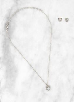 Heart Halo Rhinestone Necklace and Earrings - 3123074987061