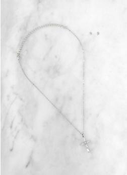 Rhinestone Cross Necklace and Stud Earrings Set | 3123074987063 - 3123074987063