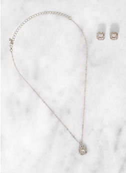 Square Halo Rhinestone Necklace and Earrings - 3123074987065