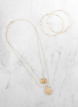 Layered Coin Charm Necklace with Hoop Earrings - 3123074988241