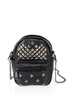 Front Pocket Studded Crossbody Bag - 3124040320030