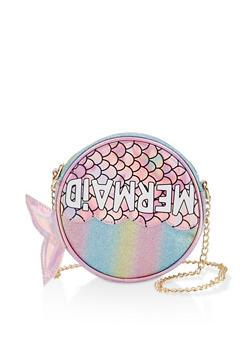Glitter Mermaid Round Crossbody Bag - 3124040320155