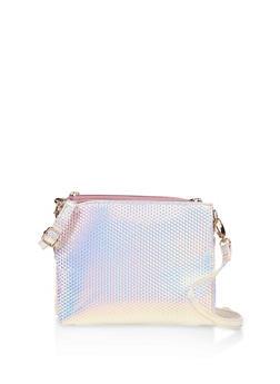 Iridescent Double Zip Crossbody Bag - 3124040320938