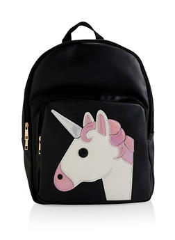 Faux Leather Unicorn Backpack - 3124040321028