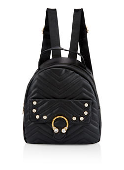 Rhinestone Quilted Backpack - 3124040321127