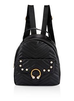 Rhinestone Quilted Backpack - BLACK - 3124040321127