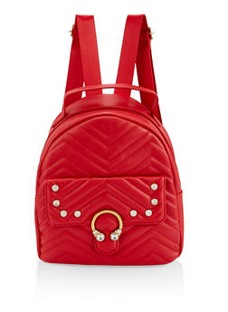 Rhinestone Quilted Backpack - RED - 3124040321127