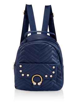 Rhinestone Quilted Backpack - BLUE - 3124040321127