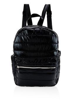 Iridescent Puffer Backpack - BLACK - 3124040321213