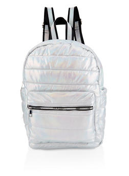 Iridescent Puffer Backpack - SILVER - 3124040321213