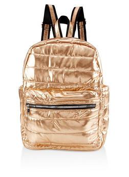 Iridescent Puffer Backpack - GOLD - 3124040321213
