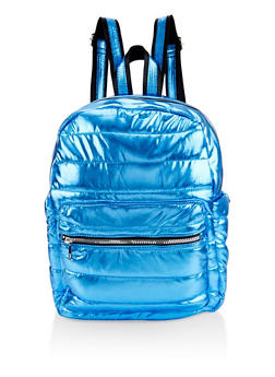 Iridescent Puffer Backpack - BLUE - 3124040321213
