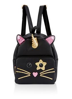 Caticorn Glitter Backpack - BLACK - 3124040321243