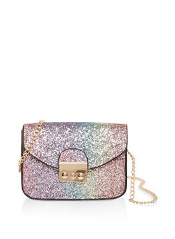 Glitter Chain Crossbody Satchel - 3124040321253