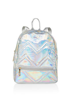 Holographic Faux Leather Backpack - 3124040321256